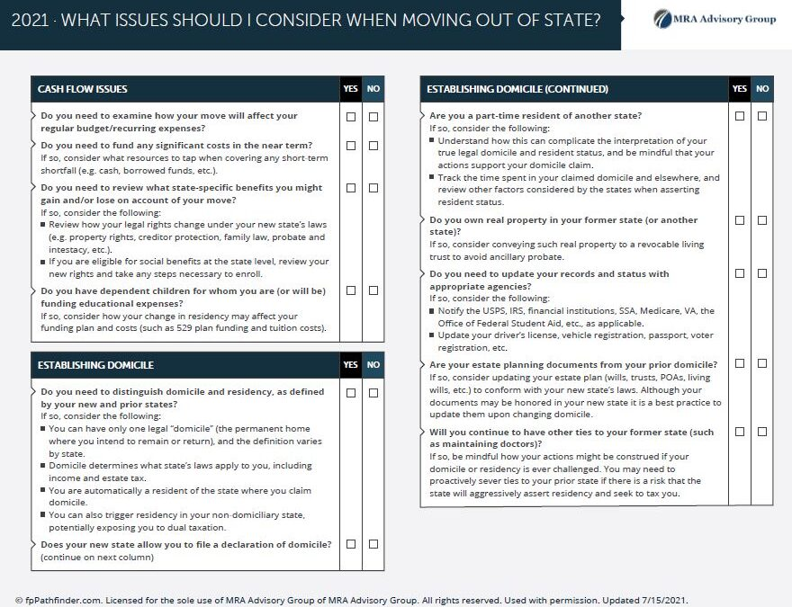 CHECKLIST: What Issues Should I Consider When Moving Out of State?